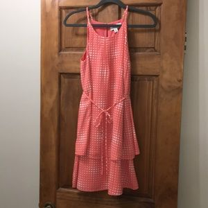 Elle Coral Dress with White Polka Dots